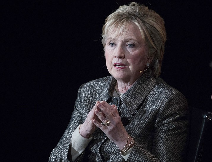 In this April 6, 2017, file photo, former Secretary of State Hillary Clinton speaks in New York. The Justice Department's internal watchdog is expected to criticize the FBI's handling of the Clinton email investigation, stepping into a political minefield as it details how a determinedly non-partisan law enforcement agency came to be entangled in the 2016 presidential race.  (AP Photo/Mary Altaffer, File)