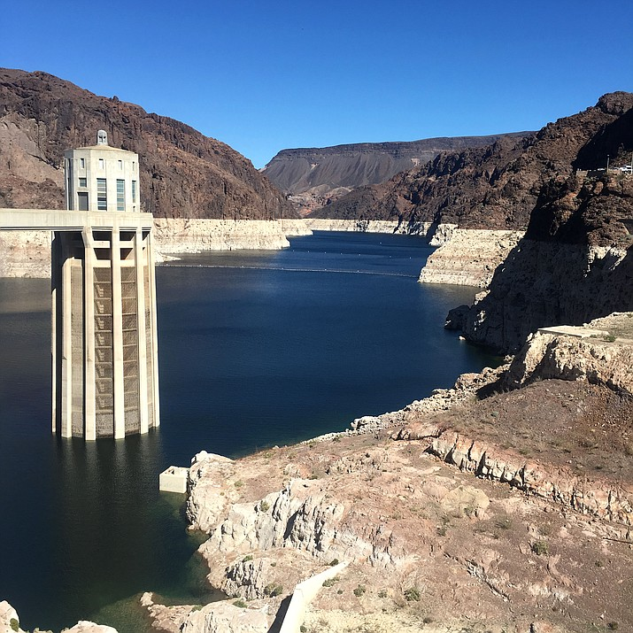 """The """"bathtub ring"""" at Hoover Dam dramatically shows the Colorado River's water level drop. Mohave County residents and officials let the Arizona House of Representatives Committee on Energy, Environment and Natural Resources know the county wants to keep its water. (Photo by Vanessa Espinoza/Daily Miner)"""