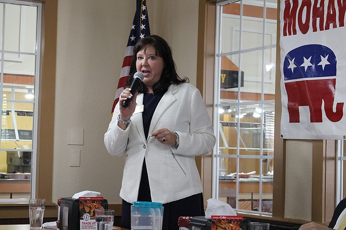 Secretary of State Michele Reagan attended the Mohave Republican Forum meeting Wednesday evening. She discussed some of the changes that have happened at the Secretary of State's office, such as modernizing procedures. (Photo by Vanessa Espinoza/Daily Miner)