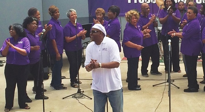 The Peculiar People's Gospel Choir performs at the Prescott Jazz Society's 17th annual Juneteenth Jazz Splash during the 2015 event (Jason Wheeler/Courier)