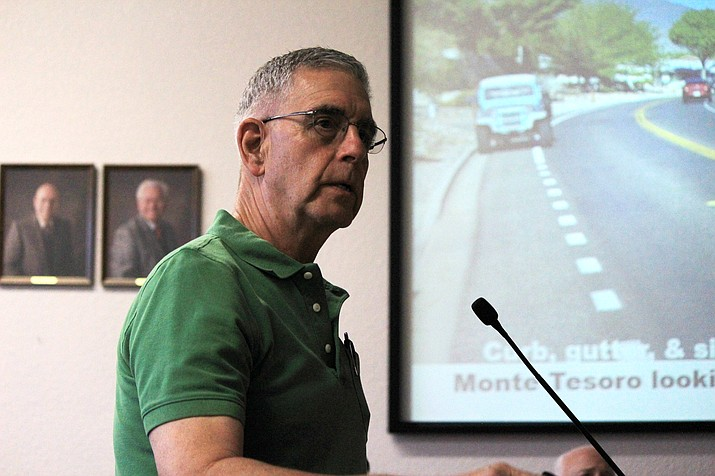In a presentation to Cottonwood City Council, Parks and Recreation Commission Chairman and city council candidate Doug Hulse cited drainage problems and eroded pavement. VVN/Kelcie Grega