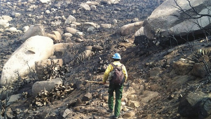 Soon after the Doce Fire in June/July 2013, Forest Service crews began the process of restoring the trails. (Jason Williams, Prescott National Forest/Courtesy)