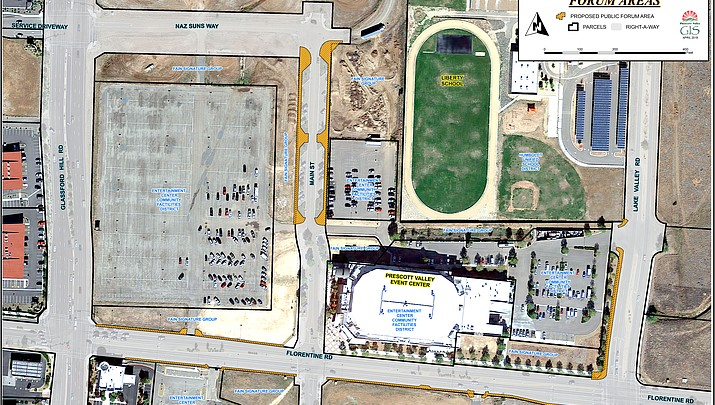 Public protest area designated at Event Center between parking lots, vacant land on Main Street