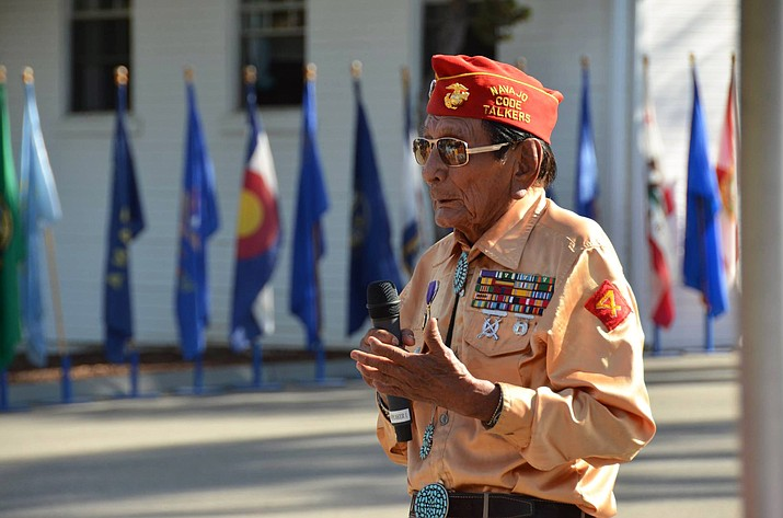 Navajo Code Talker Samuel T. Holiday speaking at Camp Pendleton on Sept. 28, 2015. Holiday was remembered June 15 in Monument Valley. (Navajo Nation Office of the President and Vice President)