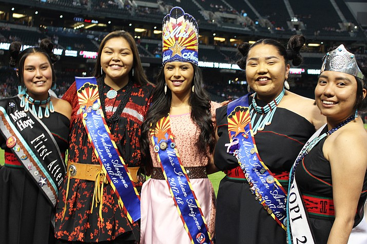 Royalty showed up in large numbers for Native American Recognition Day at Chase Field June 3. From left: Miss Hopi First Attendant Kelly Tungovia, Miss Indian Arizona First Attendant Kaelie Nash, Miss Indian Arizona Mariah Sharpe, Miss Indian Arizona Second Attendant Lexie James and Miss Hopi Mikela Gamble. (Stan Bindell/NHO)