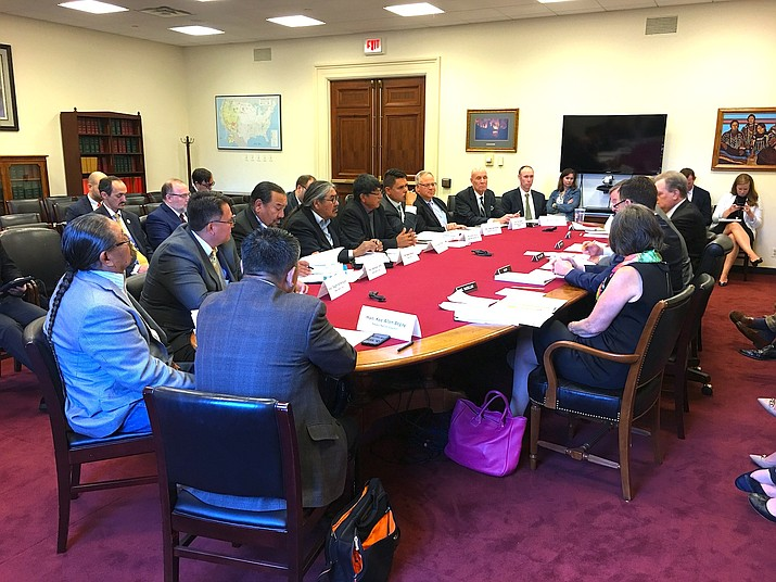 The Navajo Nation Council members discuss the status of the Office of Navajo and Hopi Indian Relocation with federal officials in Washington D.C. June 14. (Navajo Nation Office of the Speaker)
