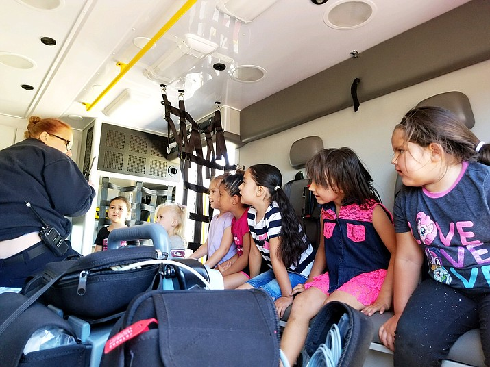 Kindercamp students tour Lifeline's ambulance June 8. (Submitted photo)