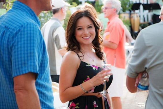 Britene Wright of Foothills Bank is shown at a previous Grapes-4-Grades garden party. (Christopher Marchetti/Courtesy)