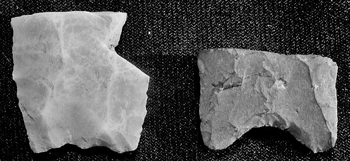 Recently a bucket of artifacts donated to Smoki Museum contained the base of a chalcedony Folsom point, left, and the base of a fluted point made in the Paleoindian period beginning about 13,000 years ago. (Andy Christenson/Courtesy)