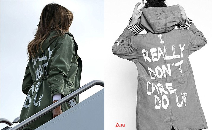 """After visiting a children's cente in McAllen, Texas First lady Melania Trump wore a green, hooded military jacket from the fast-fashion brand Zara (example right) that read """"I really don't care, do u?"""""""
