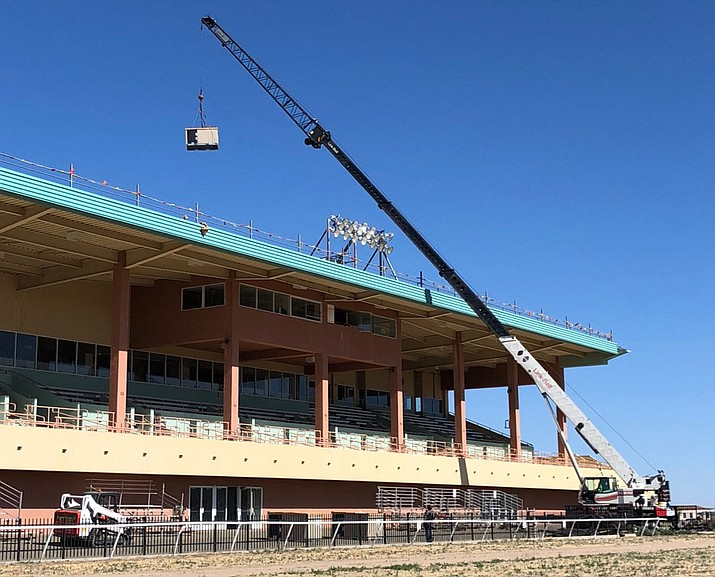 Construction crews work on improving Arizona Downs earlier this month in Prescott Valley. Formally known as Yavapai Downs, the horse track is currently going through a $2 million facelift in preparation for simulcasting in July, 2018, and live racing in 2019. (Arizona Downs/Courtesy)
