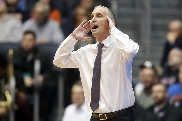 In this March 14, 2018, file photo, Arizona State coach Bobby Hurley shouts to his players during the first half of an NCAA college basketball tournament First Four game in Dayton, Ohio. Arizona State broke through to the NCAA Tournament for the first time in four years last season. The Sun Devils lost key players from that team, but are building toward making it consecutive NCAA Tournaments. (John Minchillo/AP, File)