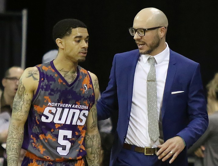 Former Northern Arizona Suns head coach Cody Toppert, right, talks with point guard Josh Gray during the Suns' season finale March 24, 2018, in Prescott Valley. Toppert was promoted to assistant coach for the Phoenix Suns under Igor Kokoskov on Thursday, June 21, 2018. (Matt Hinshaw/NAZ Suns, File)