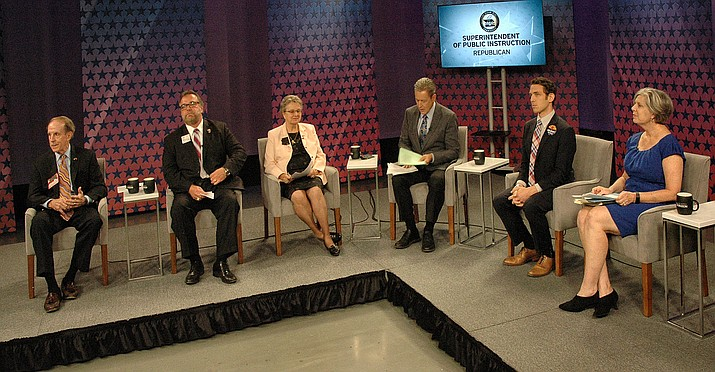 Republican contenders for state school superintendent face off Wednesday at KAET-TV, the Phoenix PBS affiliate. From left are Frank Riggs, Bob Branch, Diane Douglas, host Ted Simons, Jonathan Gelbart and Tracy Livingston. (Capitol Media Services photo by Howard Fischer)