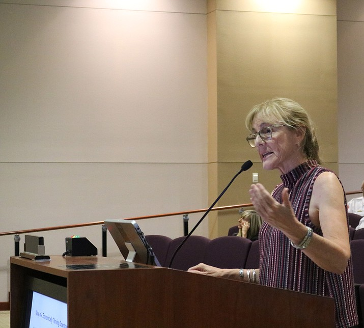 Lani Lott, president of L.L. Consulting and representative of Arizona Downtown Alliance, gave insight on how Kingman's downtown revitalization efforts can be even more successful at Council's meeting Tuesday. (Photo by Travis Rains/Daily Miner)