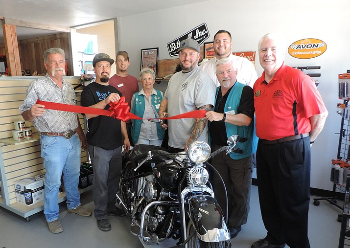 Pictured at Blue Collar Customs' ribbon cutting are: Chris Graff, Asphalt Paving Supply; Jim Lackowski, Blue Collar Customs; Chayne Probst, Blue Collar Customs; Brady Cabral, Prescott Valley Chamber of Commerce; Mike Whiting, Prescott Valley Town Councilman; and the Chamber of Commerce Ambassadors. (Prescott Valley Chamber/Courtesy)