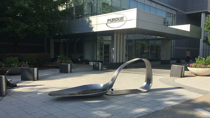 """An 800-pound sculpture, titled """"Purdue,"""" created by artist Domenic Esposito is displayed outside the Connecticut headquarters of drugmaker Purdue Pharma, Friday, June 22, 2018, in Stamford, Conn. The sculpture was inspired to create by Esposito's brother's battle with addiction. Several state and local governments are suing Purdue Pharma for allegedly using deceptive marketing to boost sales of its opioid painkiller OxyContin, blamed for opioid overdose deaths. (Susan Dunne/Hartford Courant via AP)"""