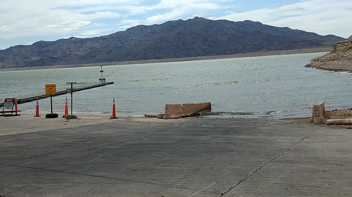 Boaters and anglers are restricted from launching at any other place other than between these concrete barriers due to the low-water condition at the South Cove ramp. (Photo by Don Martin)