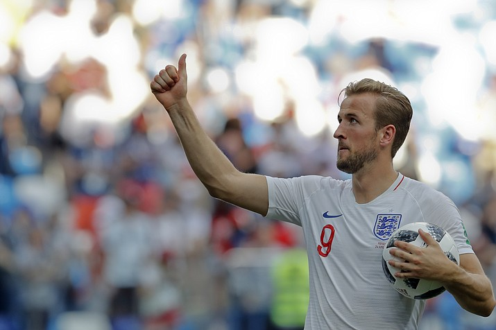 England's Harry Kane celebrates his team's 6-1 victory at the end of the group G match between England and Panama at the 2018 soccer World Cup at the Nizhny Novgorod Stadium in Nizhny Novgorod , Russia, Sunday, June 24, 2018. (Antonio Calanni/AP Photo)