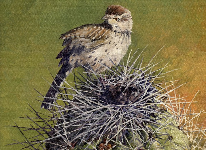 Prickly Perch, Cactus Wren, 12 x 9, by  Joe Garcia; Mountain Trails Gallery.