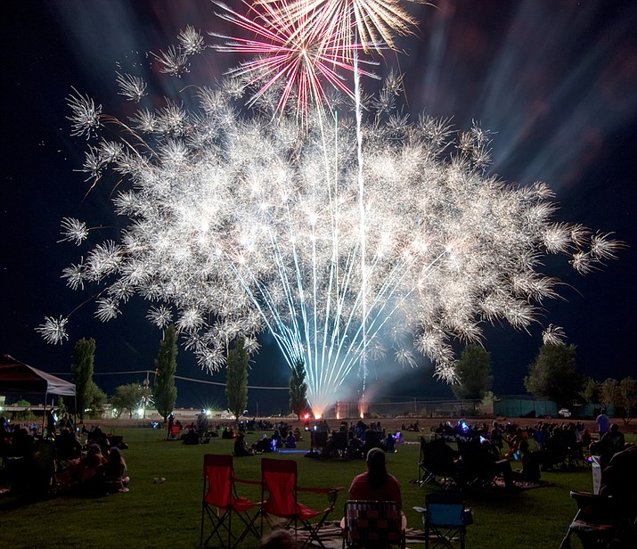 Pictured are fireworks from a past Chino Valley Independence Day celebration.  Town officials expect there to be fireworks this year unless resources are diverted by a local fire (Chino Valley Parks & Recreation/File)