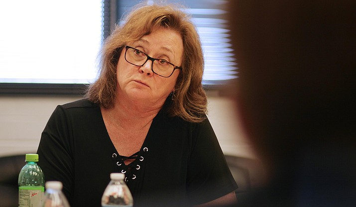 Thursday, Mingus Union High School District's governing board could approve the district's budget for fiscal year 2018-2019. Pictured, Mingus Union School Board President Anita Glazar. VVN/Bill Helm