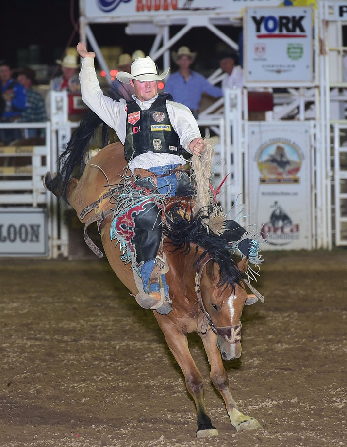 Coburn Bradshaw on Big Trick in the saddle bronc during the seventh performance of last year's  Prescott Frontier Days Rodeo at the Prescott Rodeo Grounds. (Les Stukenberg/Courier)
