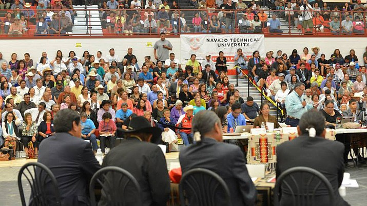 Candidates face a crowd of voters at a 2014 presidential forum held by Navajo Technical University. (Submitted photo)