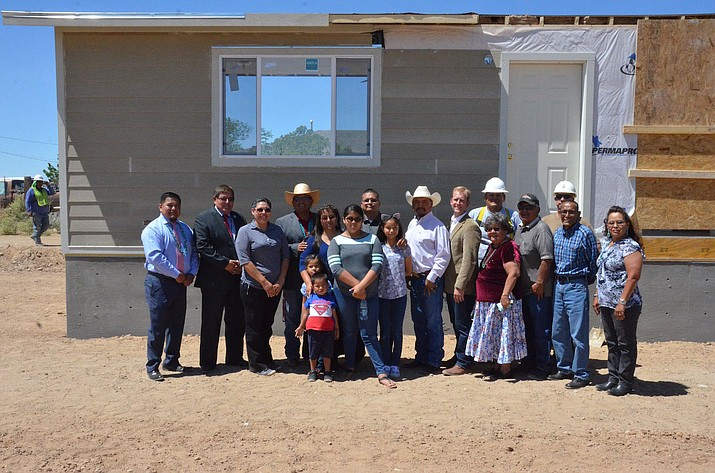 Members of the 23rd Navajo Nation Council with Navajo veteran Johnathan Becenti and his family, and officials with the Southwest Indian Foundation in Tohatchi, New Mexico June 12. (Navajo Nation Office of the Speaker)