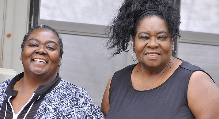 Gospel singers, Mary (left) and Brenda Hayes performed In Winslow June 14. The gospel singers have lived in Winslow for 62 years. (Todd Roth/NHO)