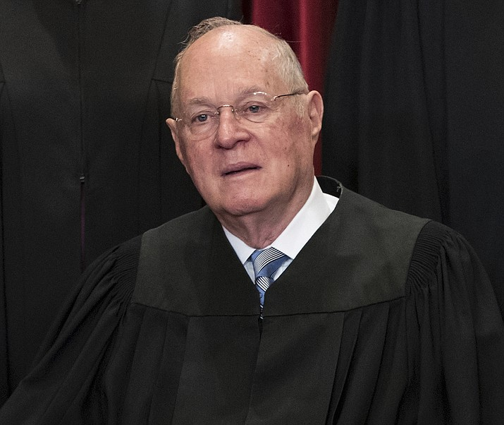 Supreme CourtAssociate Justice Anthony M. Kennedy joins other justices of the U.S. Supreme Court for an official group portrait at the Supreme Court Building in Washington, D.C., on June 1, 2017. The 81-year-old Kennedy said Tuesday, June 27, 2018, that he is retiring after more than 30 years on the court.(J. Scott Applewhite, AP Photo, file)