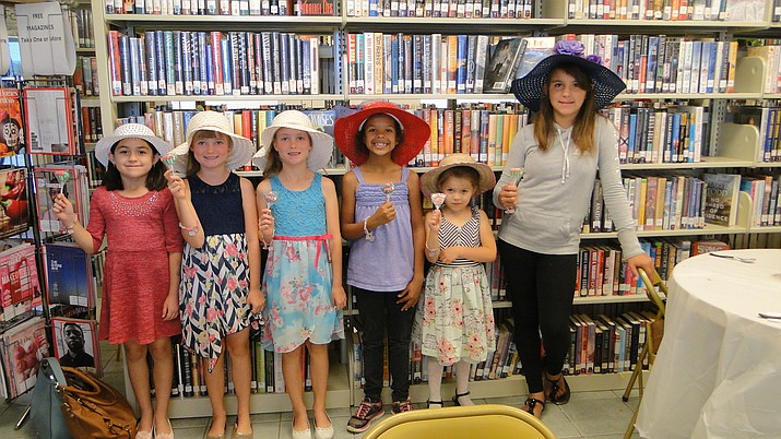 From left, Olivia Ramirea, Samantha and Victoria McMahon, Zakira Daler, Norah Navarro and Rianna Tambe.  Thanks to Rianna Tambe and Caroline Johnson for helping set up and clean up, as well as hosting a table. (Pat Williamson/Courtesy)