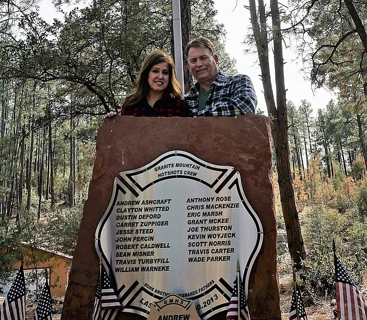 Jenn Winters-Ashcraft and Tom Ashcraft have honored Tom's son, Andrew, and the other fallen Granite Mountain Hotshots with a memorial at their home located off White Spar Road. (Cindy Barks/Prescott Courier)