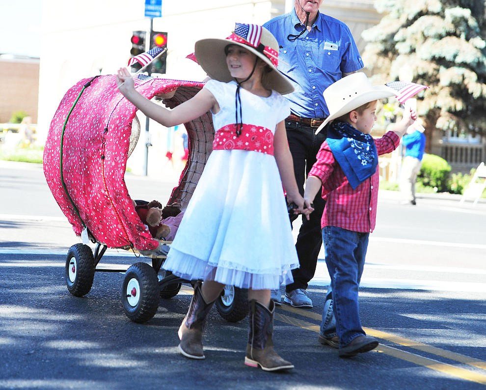 Covered wagons were popular during the 77th annual Kiwanis Kiddie Parade in downtown Prescott Friday, June 29, 2018.(Les Stukenberg/Courier)