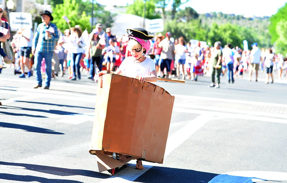 Pirate ships have a place to sail during the 77th annual Kiwanis Kiddie Parade in downtown Prescott Friday, June 29, 2018.(Les Stukenberg/Courier)