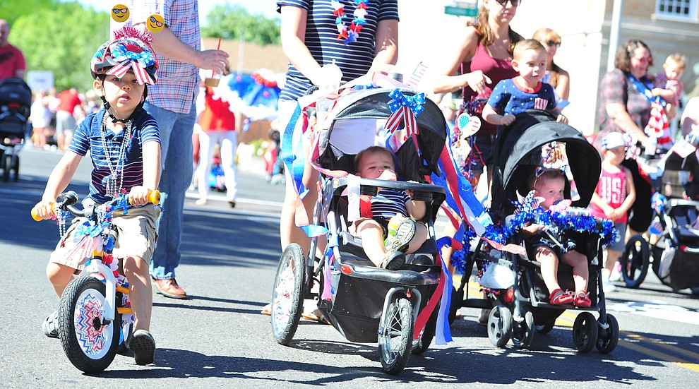 No one is too young to participate in the 77th annual Kiwanis Kiddie Parade in downtown Prescott Friday, June 29, 2018.(Les Stukenberg/Courier)