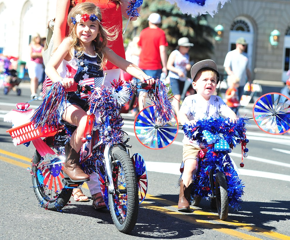 Decorating your bike is a great way to participate in the 77th annual Kiwanis Kiddie Parade in downtown Prescott Friday, June 29, 2018.(Les Stukenberg/Courier)
