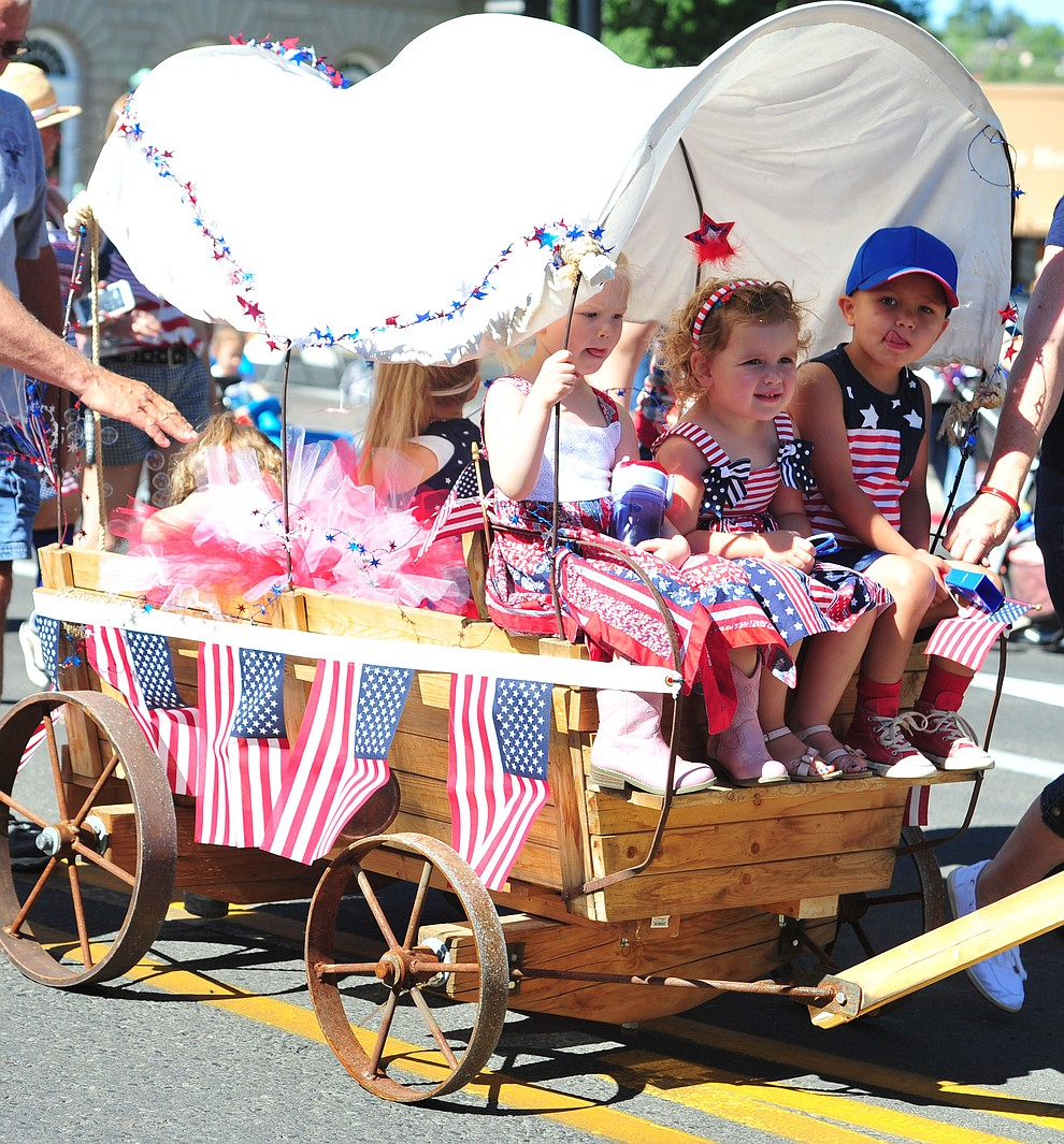 A packed wagon in the 77th annual Kiwanis Kiddie Parade in downtown Prescott Friday, June 29, 2018.(Les Stukenberg/Courier)