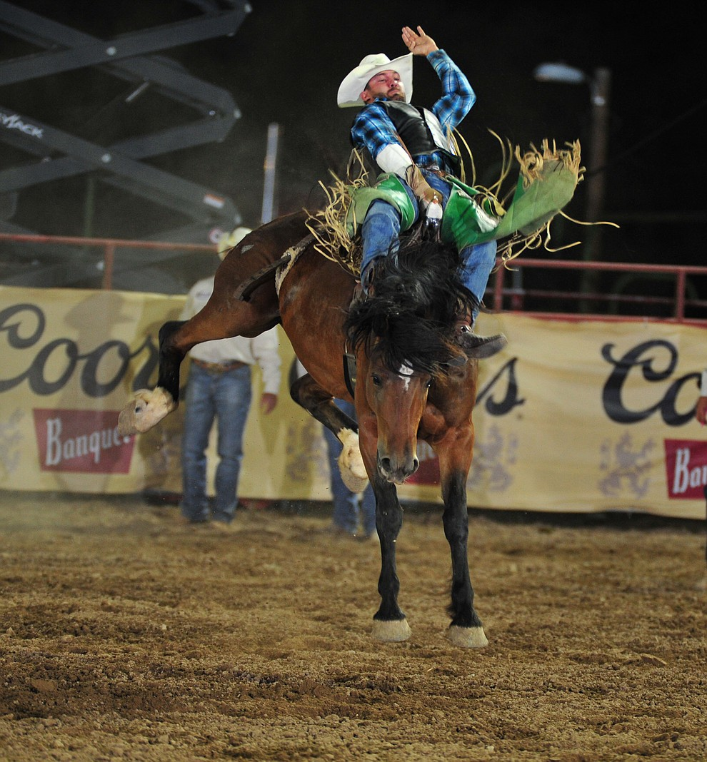Devan Reilly scores 76 on Storm Valley in the bareback during the opening performance of the Prescott Frontier Days Rodeo Thursday, June 28, 2018. (Les Stukenberg/Courier)