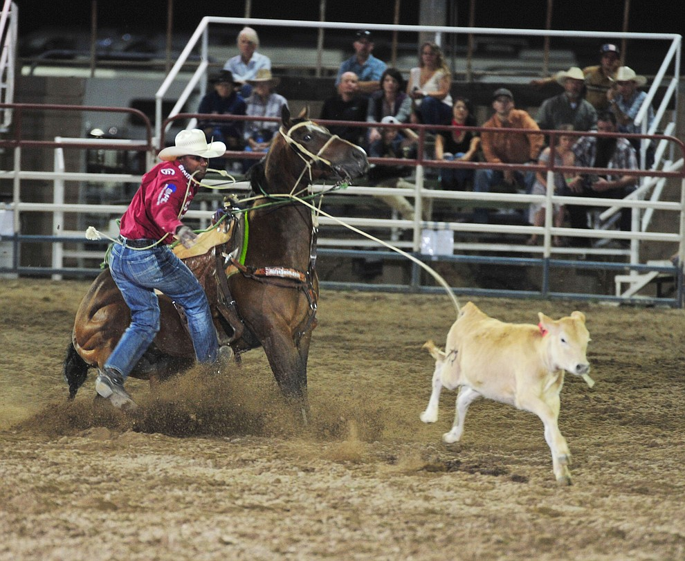 Cory Solomon ropes his calf in 9 seconds in the tie down roping during the opening performance of the Prescott Frontier Days Rodeo Thursday, June 28, 2018. (Les Stukenberg/Courier)