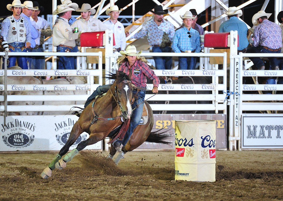 Morgan Breaux had a 17.54 second run in the barrel race during the opening performance of the Prescott Frontier Days Rodeo Thursday, June 28, 2018. (Les Stukenberg/Courier)