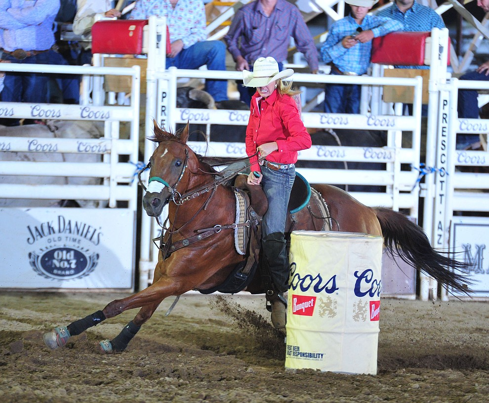 KL Spratt had a 17.52 second run in the barrel race during the opening performance of the Prescott Frontier Days Rodeo Thursday, June 28, 2018. (Les Stukenberg/Courier)