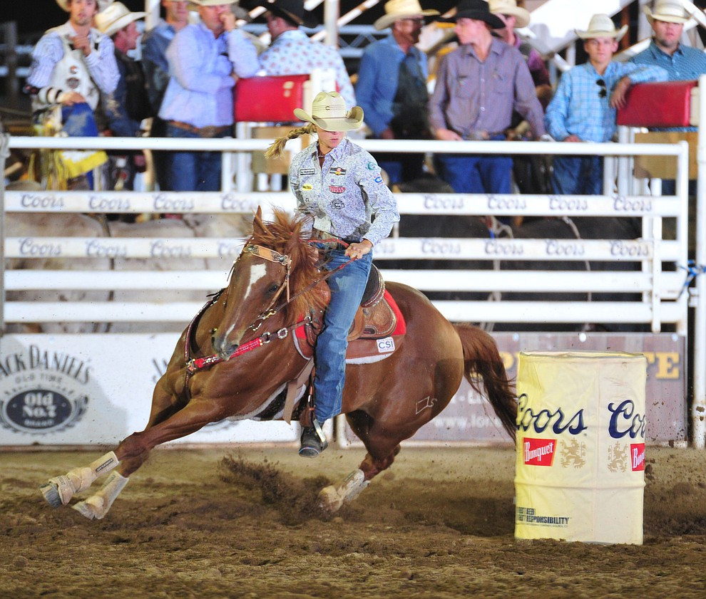 Sarah Rose McDonald had a 17.87 second run in the barrel race during the opening performance of the Prescott Frontier Days Rodeo Thursday, June 28, 2018. (Les Stukenberg/Courier)