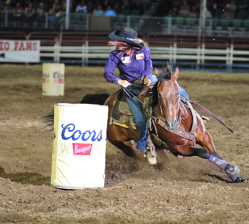 Allison Resor had a 18.06 second run in the barrel race during the opening performance of the Prescott Frontier Days Rodeo Thursday, June 28, 2018. (Les Stukenberg/Courier)