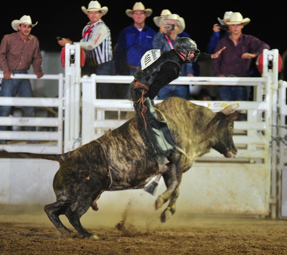 Lane Nobles on Corleone in the bull riding during the opening performance of the Prescott Frontier Days Rodeo Thursday, June 28, 2018. (Les Stukenberg/Courier)