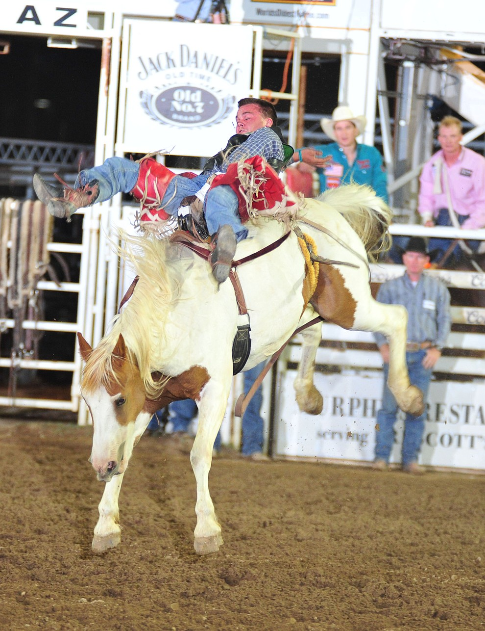Shane O'Connell scores 86 on Little Linda in the Bareback during the second performance of the Prescott Frontier Days Rodeo Friday, June 29, 2018.(Les Stukenberg/Courier)
