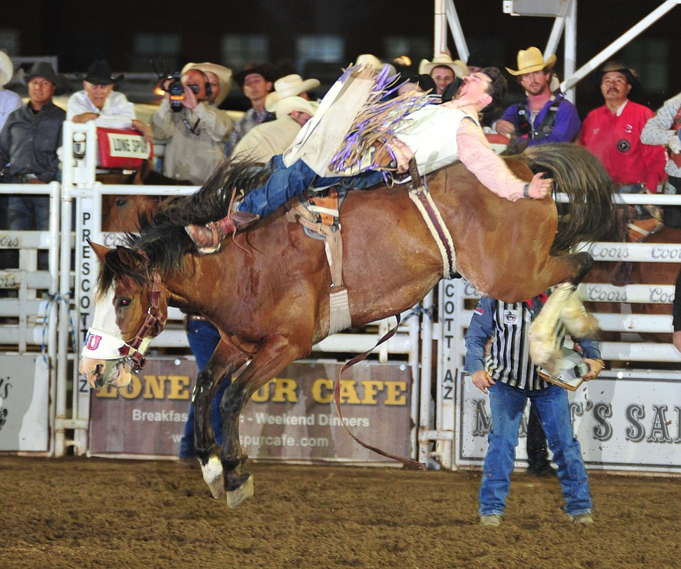Lane McHehee scores 87.5 on Pow Wow Rocks in the bareback during the second performance of the Prescott Frontier Days Rodeo Friday, June 29, 2018.(Les Stukenberg/Courier)