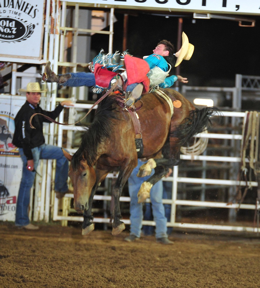 Tim O'Connell scores 80 on Jungle Cat in the bareback during the second performance of the Prescott Frontier Days Rodeo Friday, June 29, 2018.(Les Stukenberg/Courier)