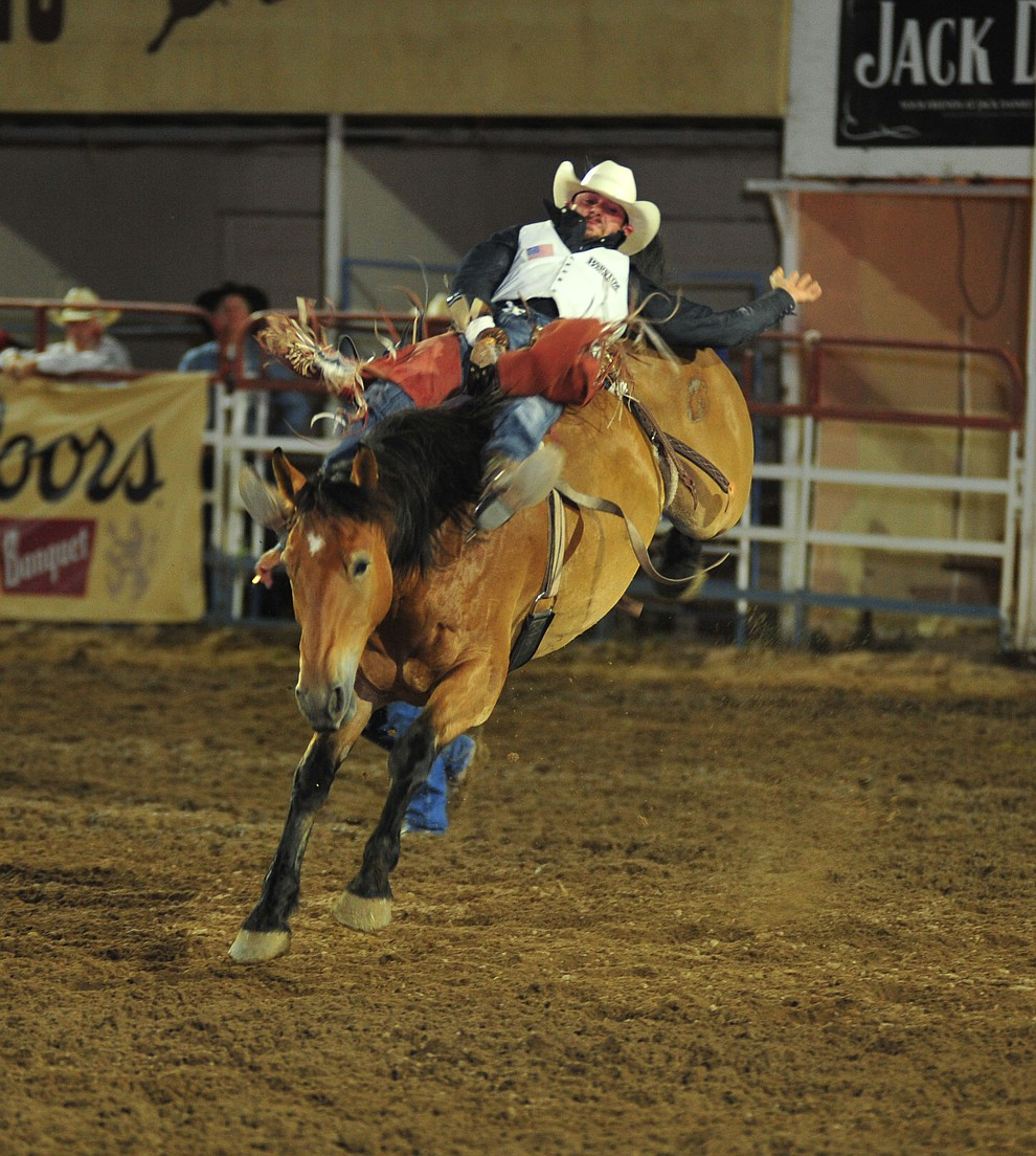 Mason Clements scores 83 on Happy Trails in the bareback during the second performance of the Prescott Frontier Days Rodeo Friday, June 29, 2018.(Les Stukenberg/Courier)