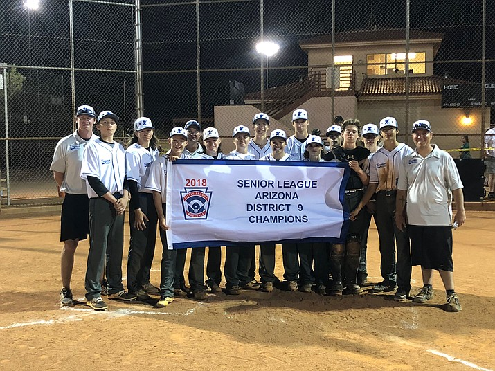 The combination 15-16 all-star team from Kingman and Kingman North little leagues won the District 9 championship by sweeping Blythe, California, two games to none. (Photo by Lyndsey Stinson/Kingman Little League)